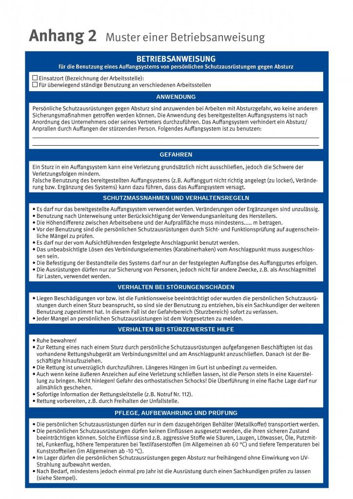 Muster einer Betriebsanweisung DGUV Absturzsicherung