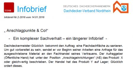 Infobrief Anschlageinrichtungen - Beratungshaftung Handel - Dachdeckerinnung Nordrhein